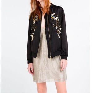 Zara Floral Embroidered Black Bomber Jacket